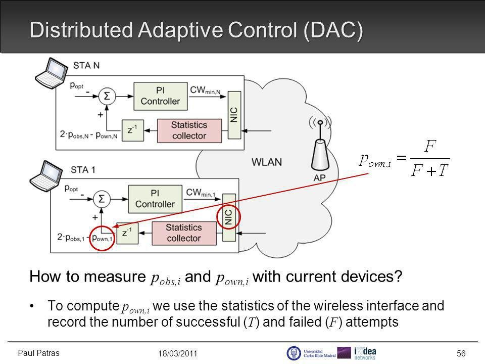 18/03/2011 Distributed Adaptive Control (DAC) How to measure p obs,i and p own,i with current devices.