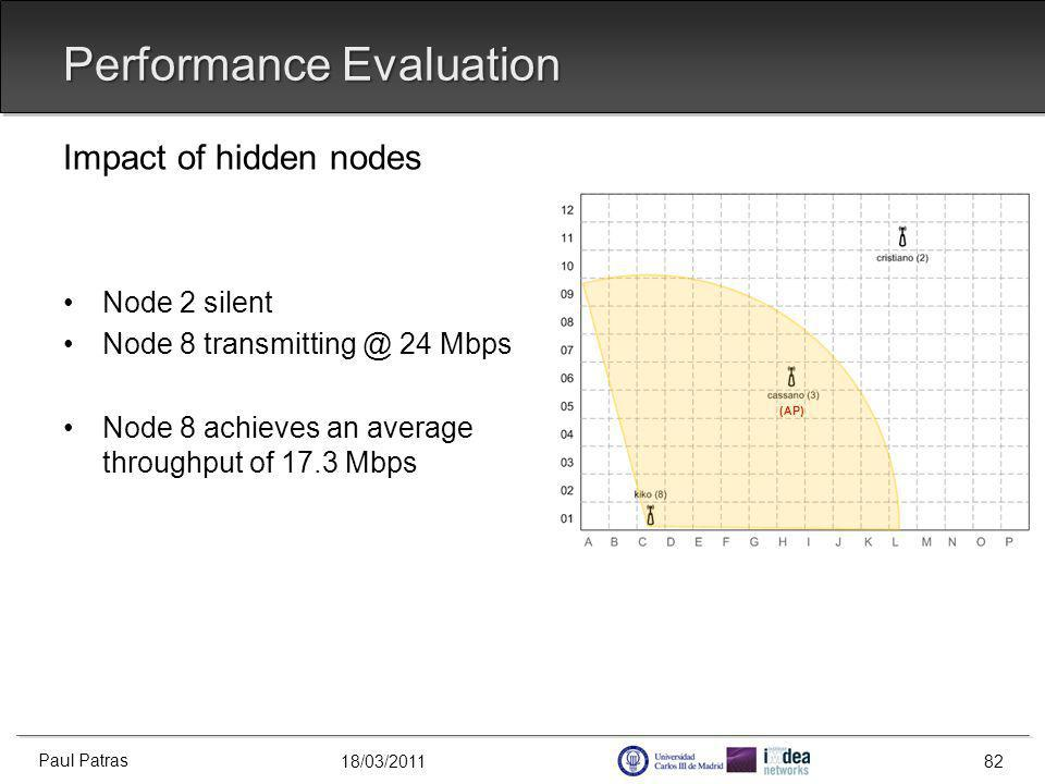 18/03/2011 Performance Evaluation Impact of hidden nodes Node 2 silent Node 8 transmitting @ 24 Mbps Node 8 achieves an average throughput of 17.3 Mbps Paul Patras 82 (AP)