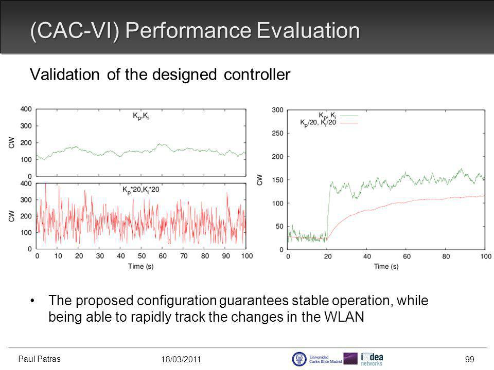 18/03/2011 Validation of the designed controller The proposed configuration guarantees stable operation, while being able to rapidly track the changes in the WLAN (CAC-VI) Performance Evaluation Paul Patras 99