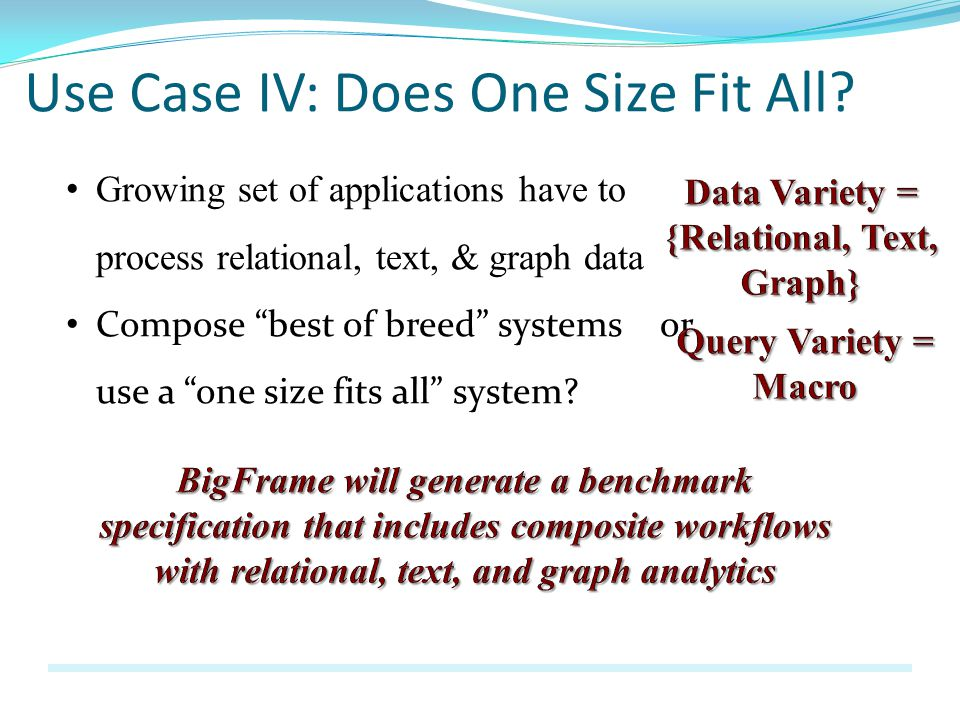 Use Case IV: Does One Size Fit All.