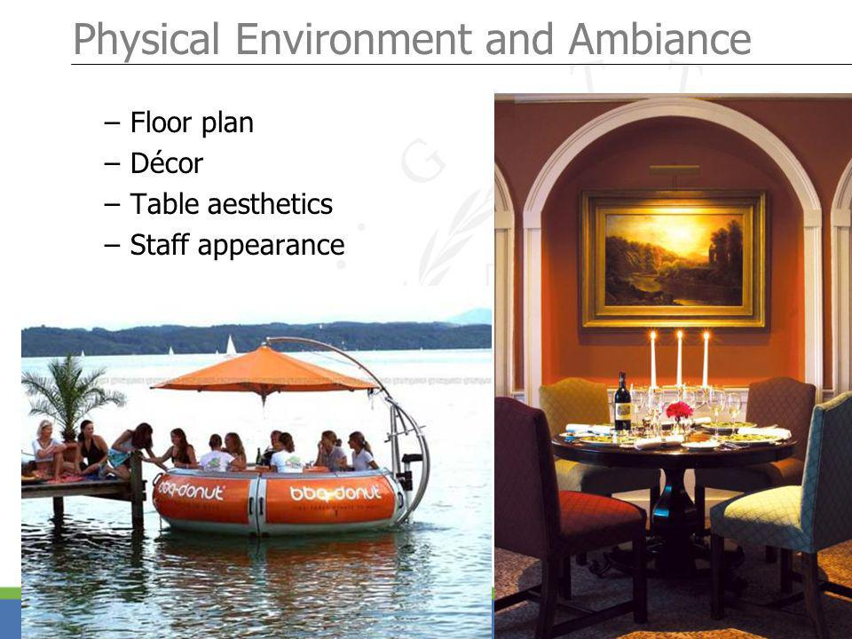 Page 16 Physical Environment and Ambiance – Floor plan – Décor – Table aesthetics – Staff appearance