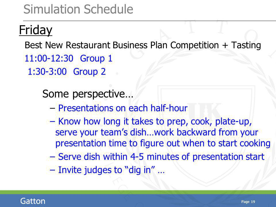 Simulation Schedule Friday Best New Restaurant Business Plan Competition + Tasting 11:00-12:30 Group 1 1:30-3:00 Group 2 Some perspective… – Presentations on each half-hour – Know how long it takes to prep, cook, plate-up, serve your teams dish…work backward from your presentation time to figure out when to start cooking – Serve dish within 4-5 minutes of presentation start – Invite judges to dig in … Page 19