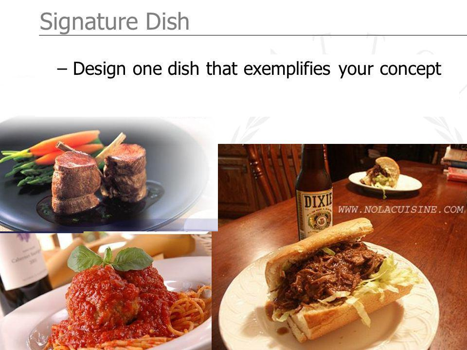 Page 6 Signature Dish – Design one dish that exemplifies your concept
