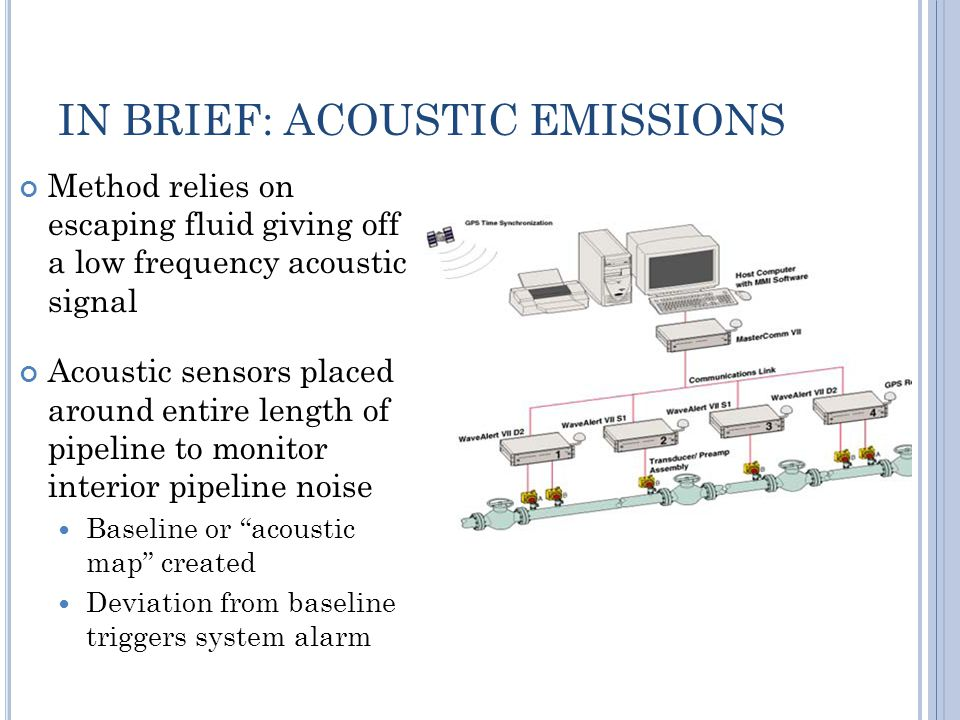 IN BRIEF: ACOUSTIC EMISSIONS Method relies on escaping fluid giving off a low frequency acoustic signal Acoustic sensors placed around entire length of pipeline to monitor interior pipeline noise Baseline or acoustic map created Deviation from baseline triggers system alarm