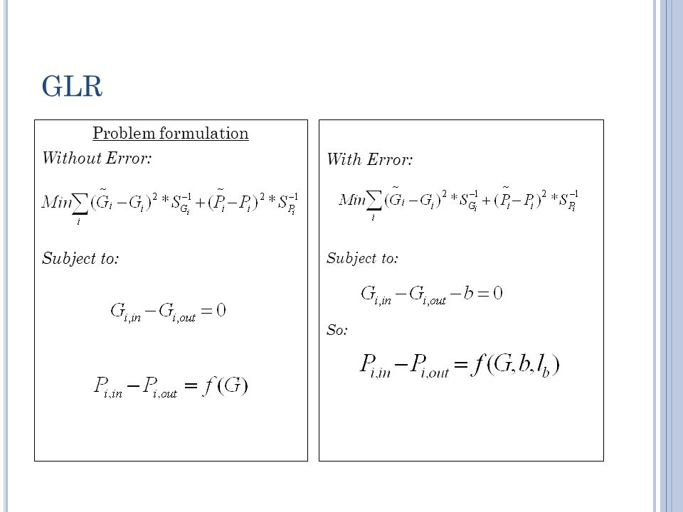 GLR Problem formulation Without Error: Subject to: With Error: Subject to: So:
