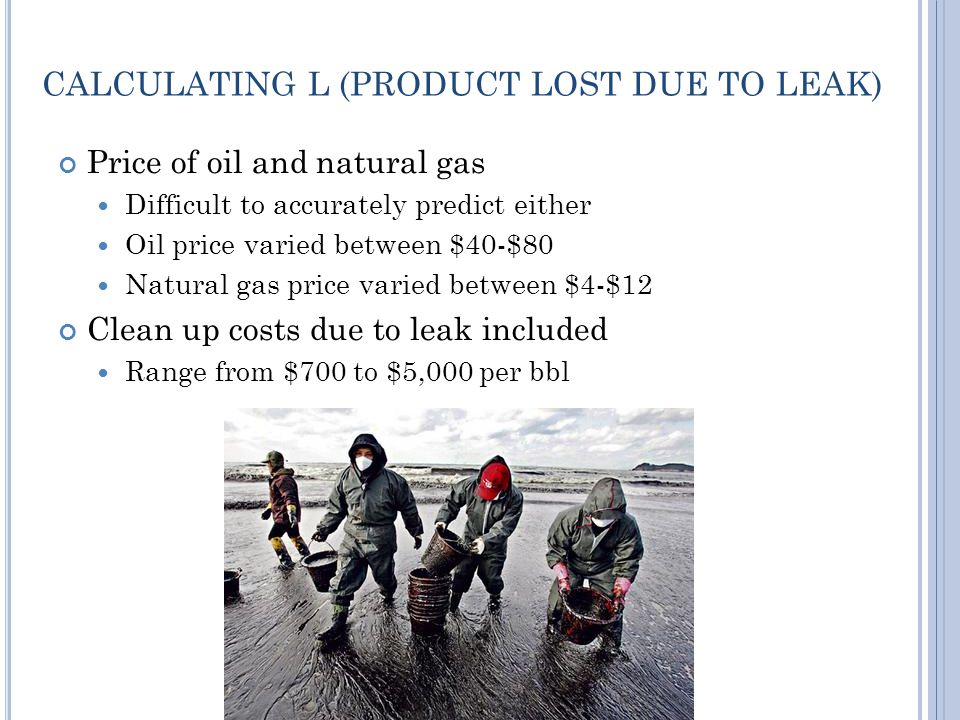 CALCULATING L (PRODUCT LOST DUE TO LEAK) Price of oil and natural gas Difficult to accurately predict either Oil price varied between $40-$80 Natural gas price varied between $4-$12 Clean up costs due to leak included Range from $700 to $5,000 per bbl