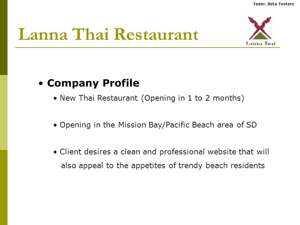 Team: Beta Testers Lanna Thai Restaurant Company Profile New