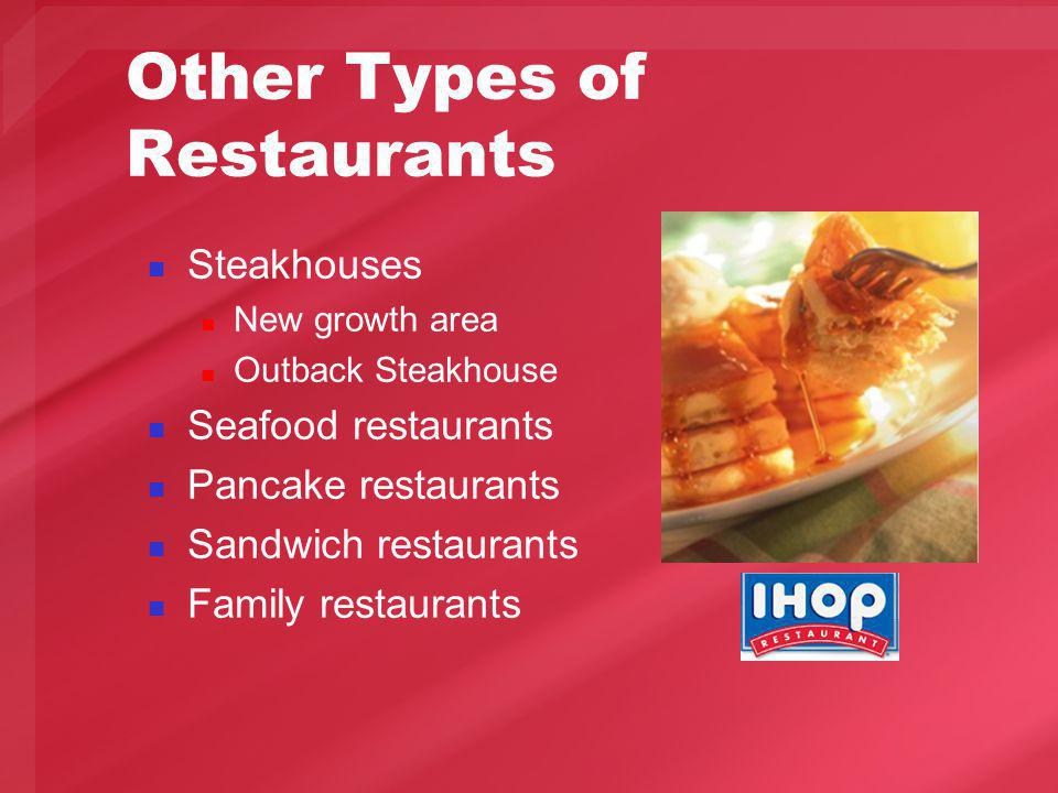 Other Types of Restaurants Steakhouses New growth area Outback Steakhouse Seafood restaurants Pancake restaurants Sandwich restaurants Family restaurants