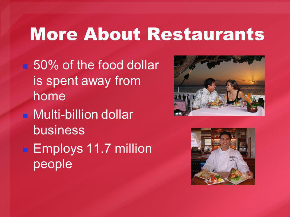 More About Restaurants 50% of the food dollar is spent away from home Multi-billion dollar business Employs 11.7 million people