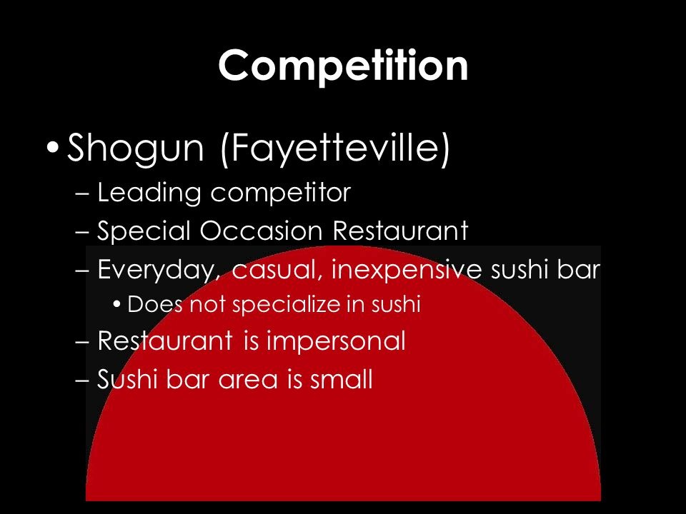 Competition Shogun (Fayetteville) –Leading competitor –Special Occasion Restaurant –Everyday, casual, inexpensive sushi bar Does not specialize in sushi –Restaurant is impersonal –Sushi bar area is small