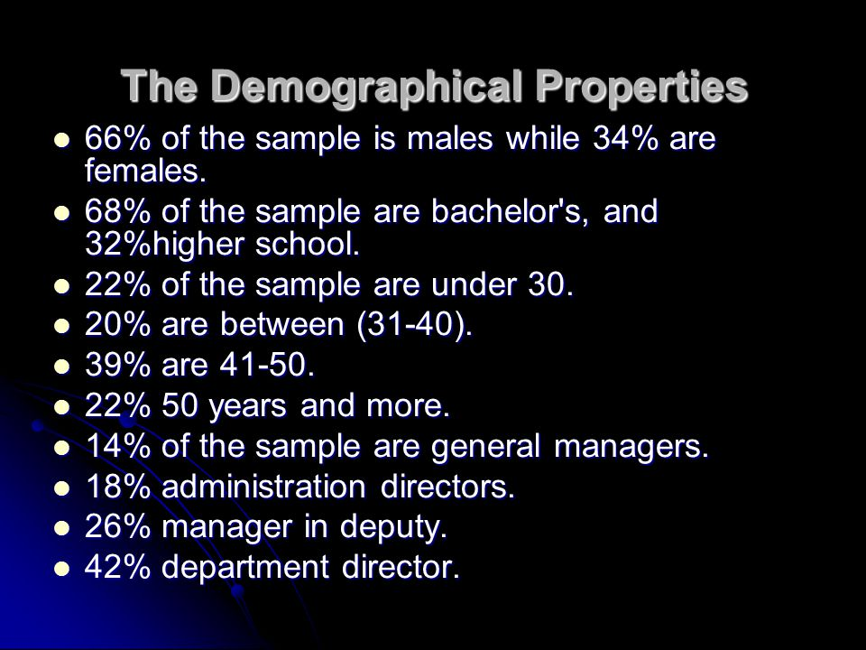 The Demographical Properties 66% of the sample is males while 34% are females.