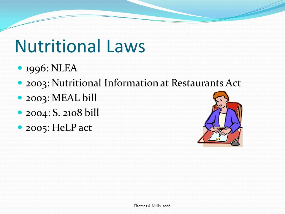 Nutritional Laws 1996: NLEA 2003: Nutritional Information at Restaurants Act 2003: MEAL bill 2004: S.