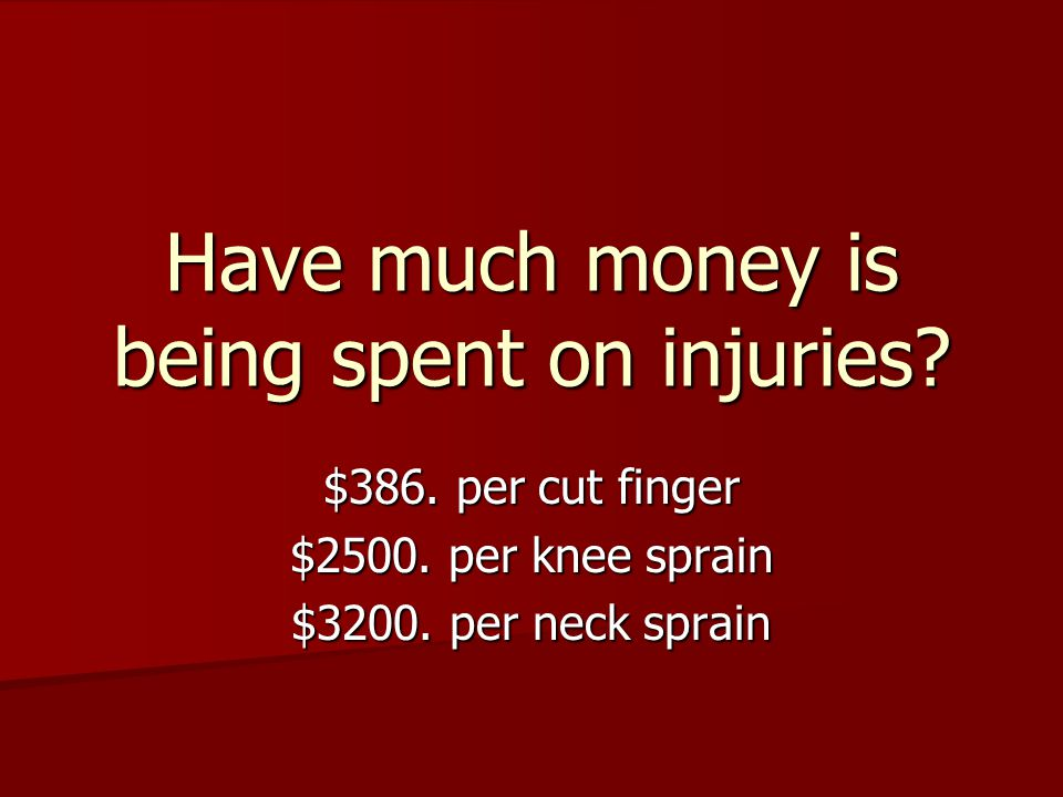 Have much money is being spent on injuries. $386.
