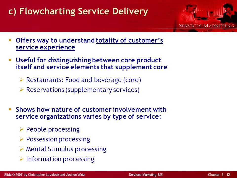 Slide © 2007 by Christopher Lovelock and Jochen Wirtz Services Marketing 6/E Chapter 3 - 12 c) Flowcharting Service Delivery Offers way to understand totality of customers service experience Useful for distinguishing between core product itself and service elements that supplement core Restaurants: Food and beverage (core) Reservations (supplementary services) Shows how nature of customer involvement with service organizations varies by type of service: People processing Possession processing Mental Stimulus processing Information processing
