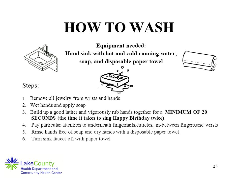 25 HOW TO WASH Equipment needed: Hand sink with hot and cold running water, soap, and disposable paper towel Steps: 1.