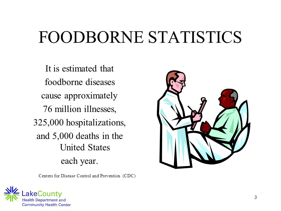 3 It is estimated that foodborne diseases cause approximately 76 million illnesses, 325,000 hospitalizations, and 5,000 deaths in the United States each year.