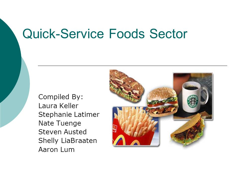 Quick-Service Foods Sector Compiled By: Laura Keller Stephanie Latimer Nate Tuenge Steven Austed Shelly LiaBraaten Aaron Lum