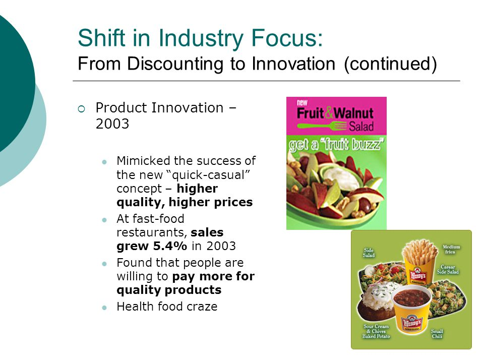 Shift in Industry Focus: From Discounting to Innovation (continued) Product Innovation – 2003 Mimicked the success of the new quick-casual concept – higher quality, higher prices At fast-food restaurants, sales grew 5.4% in 2003 Found that people are willing to pay more for quality products Health food craze