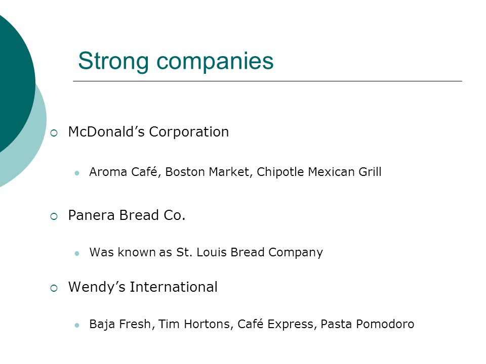 Strong companies McDonalds Corporation Aroma Café, Boston Market, Chipotle Mexican Grill Panera Bread Co.