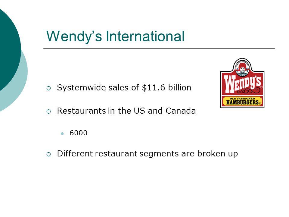 Wendys International Systemwide sales of $11.6 billion Restaurants in the US and Canada 6000 Different restaurant segments are broken up