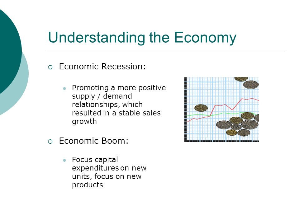 Understanding the Economy Economic Recession: Promoting a more positive supply / demand relationships, which resulted in a stable sales growth Economic Boom: Focus capital expenditures on new units, focus on new products