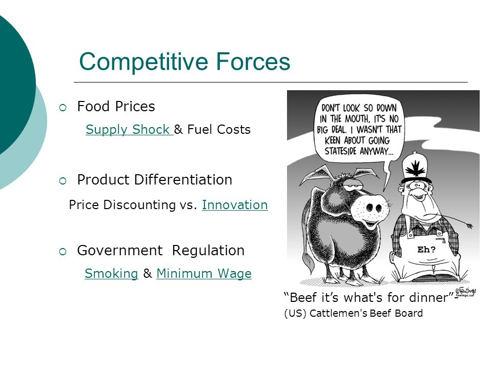 Competitive Forces Food Prices Supply Shock Supply Shock & Fuel Costs Product Differentiation Price Discounting vs.