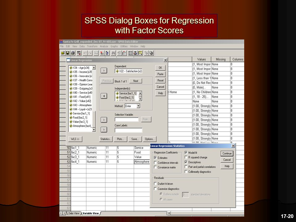 SPSS Dialog Boxes for Regression with Factor Scores 17-20
