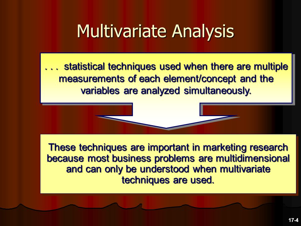Multivariate Analysis These techniques are important in marketing research because most business problems are multidimensional and can only be understood when multivariate techniques are used....