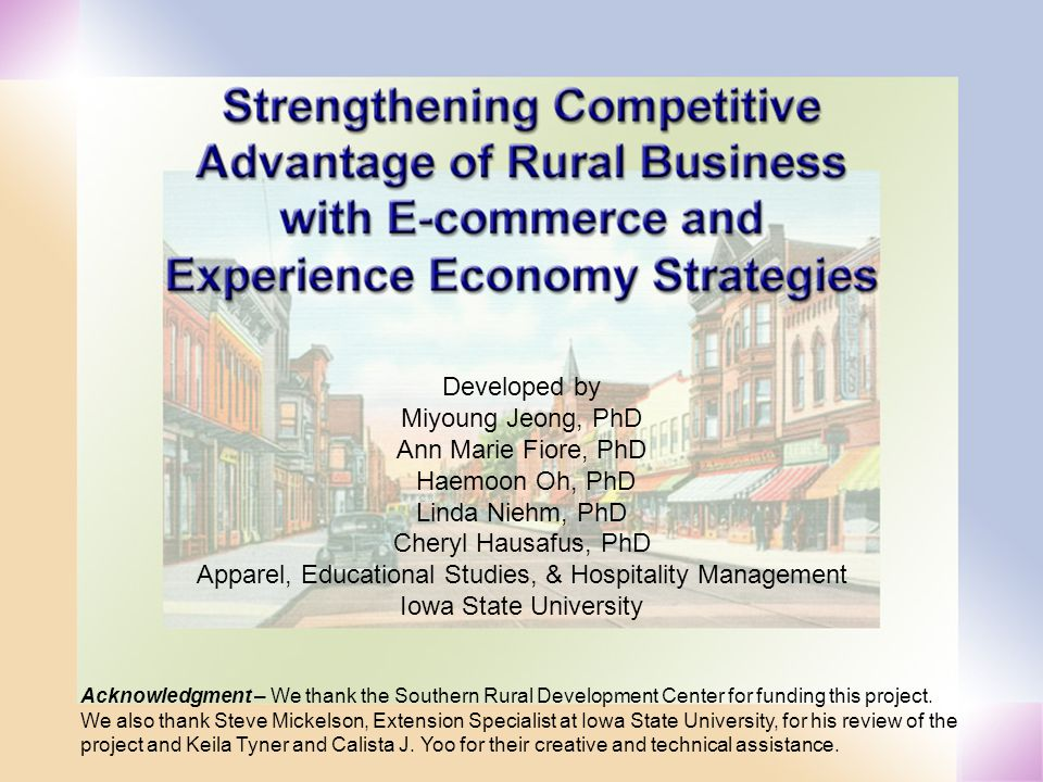 Developed by Miyoung Jeong, PhD Ann Marie Fiore, PhD Haemoon Oh, PhD Linda Niehm, PhD Cheryl Hausafus, PhD Apparel, Educational Studies, & Hospitality Management Iowa State University Acknowledgment – We thank the Southern Rural Development Center for funding this project.