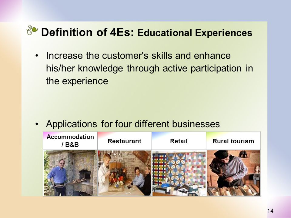 14 Definition of 4Es: Educational Experiences Increase the customer s skills and enhance his/her knowledge through active participation in the experience Accommodation / B&B RestaurantRetailRural tourism Applications for four different businesses