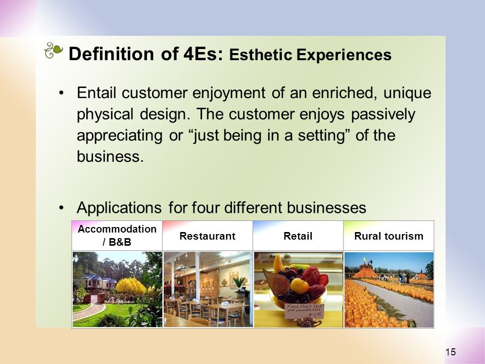 15 Definition of 4Es: Esthetic Experiences Entail customer enjoyment of an enriched, unique physical design.