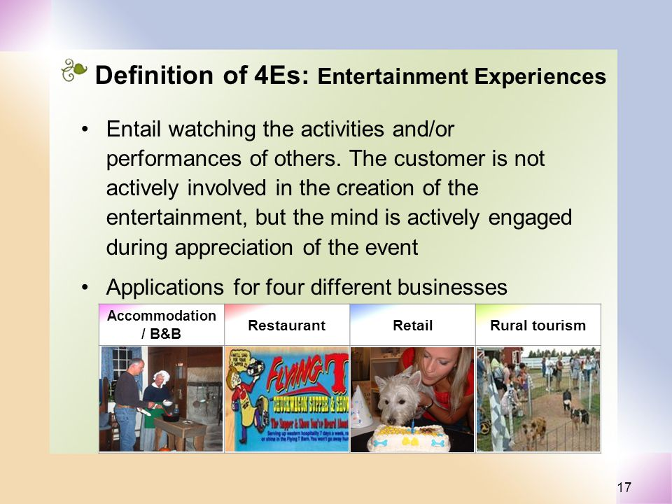 17 Definition of 4Es: Entertainment Experiences Entail watching the activities and/or performances of others.