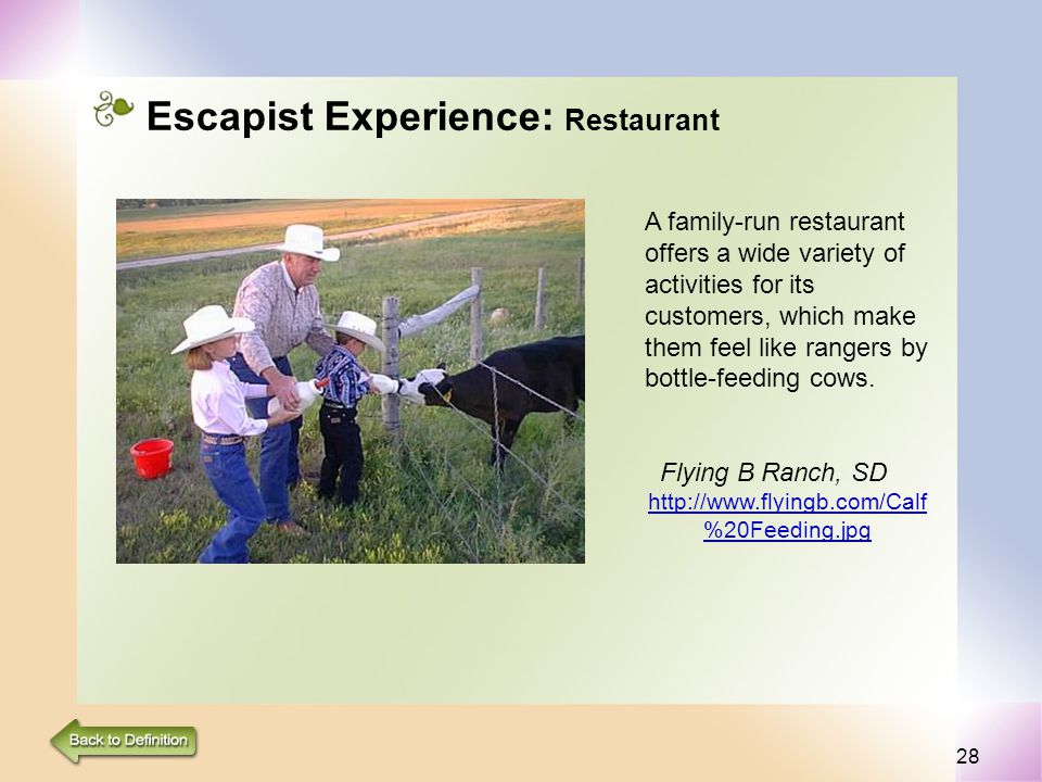 28 Escapist Experience: Restaurant A family-run restaurant offers a wide variety of activities for its customers, which make them feel like rangers by bottle-feeding cows.