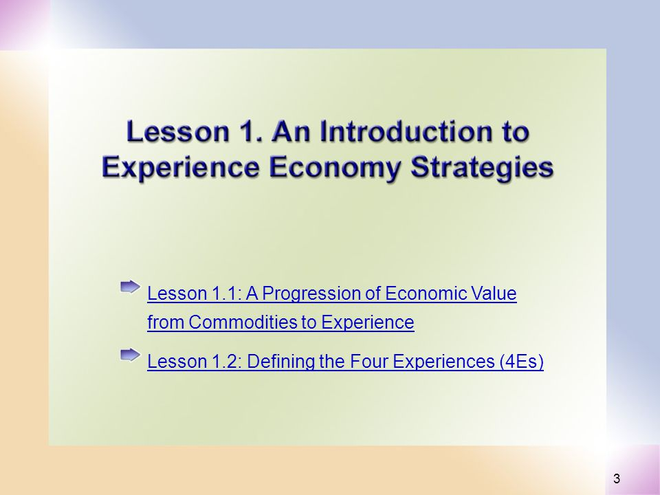 3 Lesson 1.1: A Progression of Economic Value from Commodities to Experience Lesson 1.2: Defining the Four Experiences (4Es)