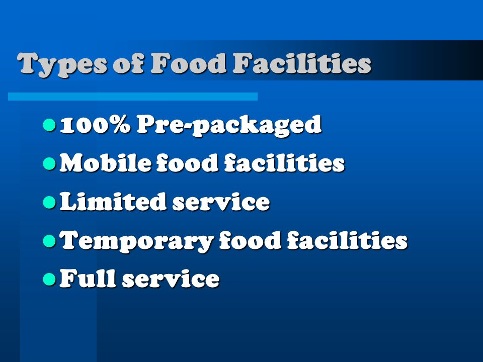 Types of Food Facilities 100% Pre-packaged 100% Pre-packaged Mobile food facilities Mobile food facilities Limited service Limited service Temporary food facilities Temporary food facilities Full service Full service