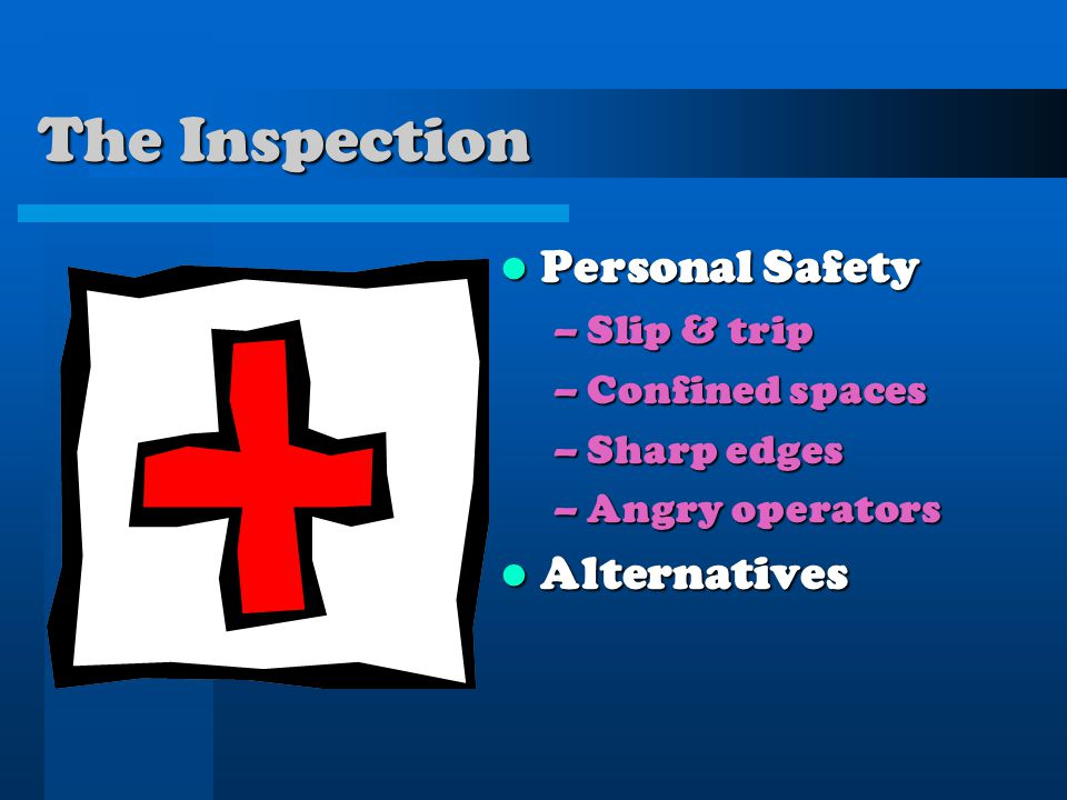 The Inspection Personal Safety –Slip & trip –Confined spaces –Sharp edges –Angry operators Alternatives