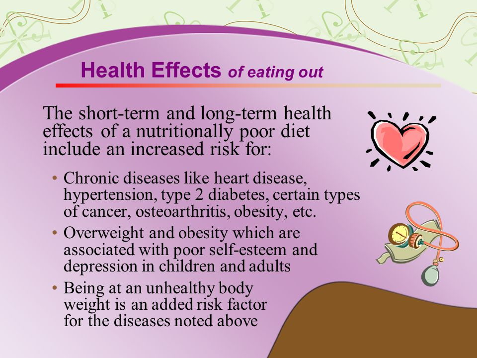 Health Effects of eating out The short-term and long-term health effects of a nutritionally poor diet include an increased risk for: Chronic diseases like heart disease, hypertension, type 2 diabetes, certain types of cancer, osteoarthritis, obesity, etc.