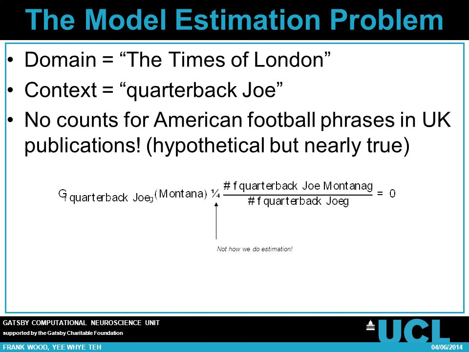 GATSBY COMPUTATIONAL NEUROSCIENCE UNIT supported by the Gatsby Charitable Foundation FRANK WOOD, YEE WHYE TEH04/06/2014 The Model Estimation Problem Domain = The Times of London Context = quarterback Joe No counts for American football phrases in UK publications.