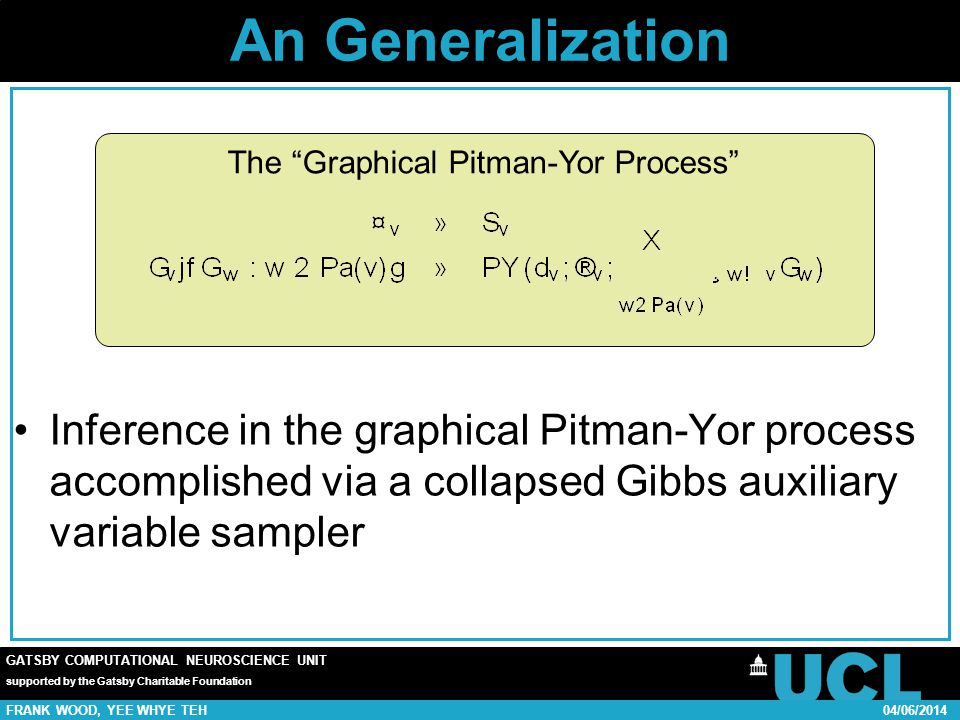 GATSBY COMPUTATIONAL NEUROSCIENCE UNIT supported by the Gatsby Charitable Foundation FRANK WOOD, YEE WHYE TEH04/06/2014 An Generalization Inference in the graphical Pitman-Yor process accomplished via a collapsed Gibbs auxiliary variable sampler The Graphical Pitman-Yor Process
