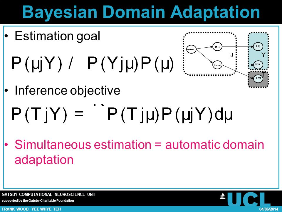 GATSBY COMPUTATIONAL NEUROSCIENCE UNIT supported by the Gatsby Charitable Foundation FRANK WOOD, YEE WHYE TEH04/06/2014 Bayesian Domain Adaptation Estimation goal Inference objective Simultaneous estimation = automatic domain adaptation