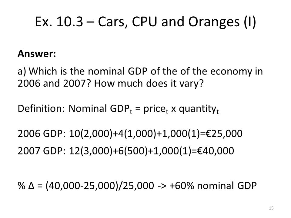 Answer: a)Which is the nominal GDP of the of the economy in 2006 and 2007.