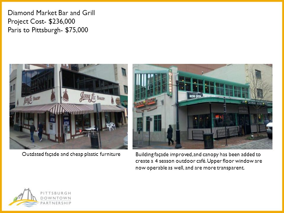 Diamond Market Bar and Grill Project Cost- $236,000 Paris to Pittsburgh- $75,000 Outdated façade and cheap plastic furniture Building façade improved, and canopy has been added to create a 4 season outdoor café.