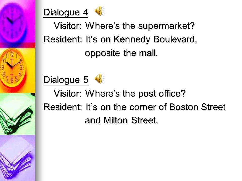 Dialogue 4 Visitor: Wheres the supermarket. Visitor: Wheres the supermarket.