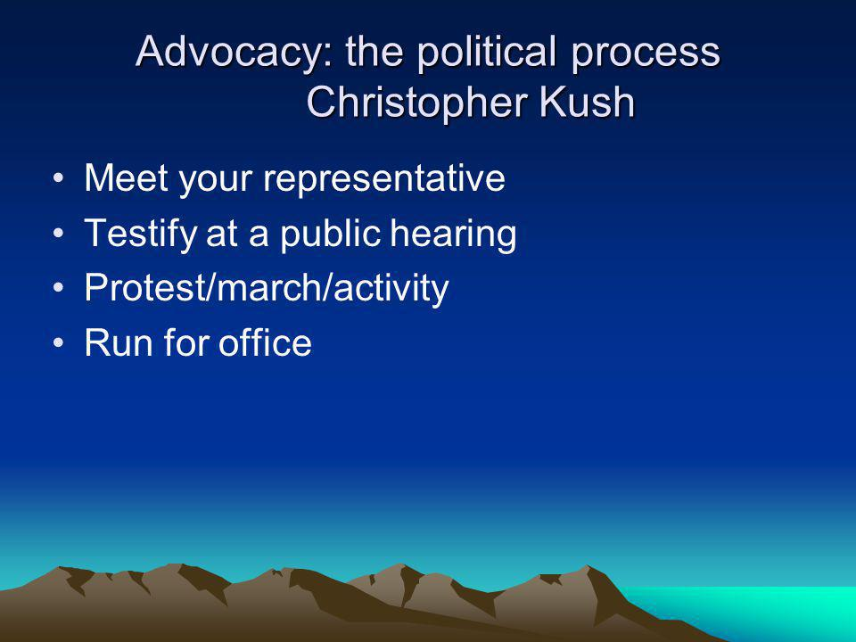 Advocacy: the political process Christopher Kush Meet your representative Testify at a public hearing Protest/march/activity Run for office