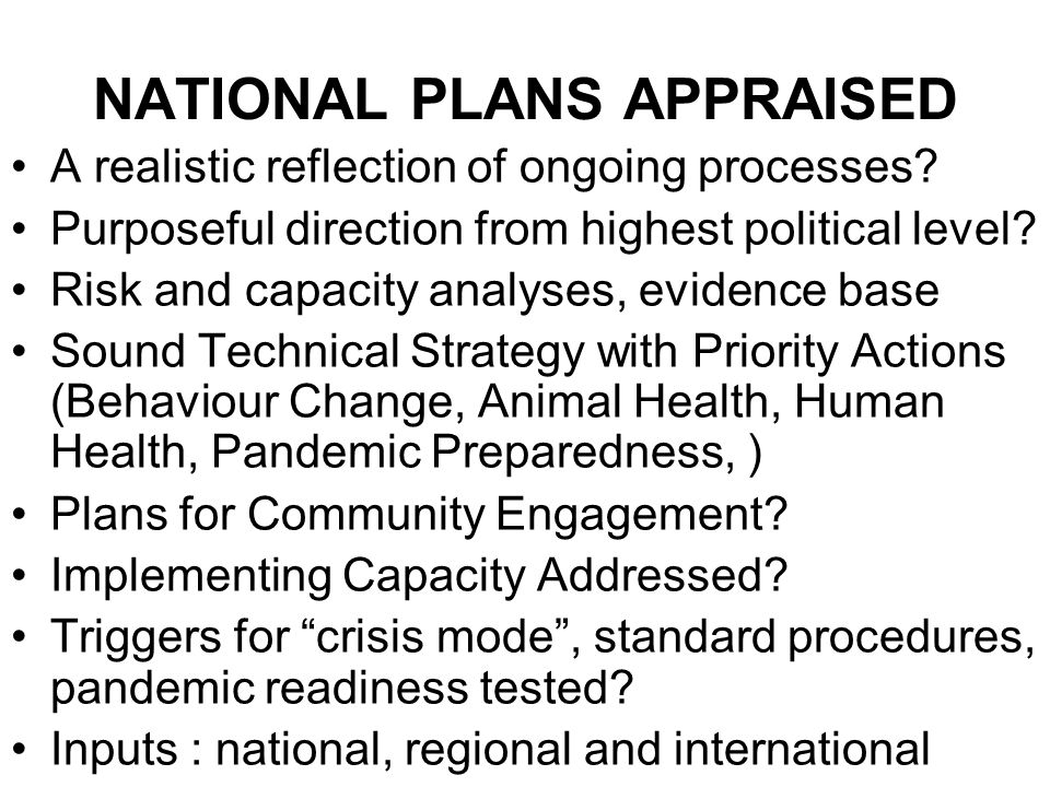 NATIONAL PLANS APPRAISED A realistic reflection of ongoing processes.