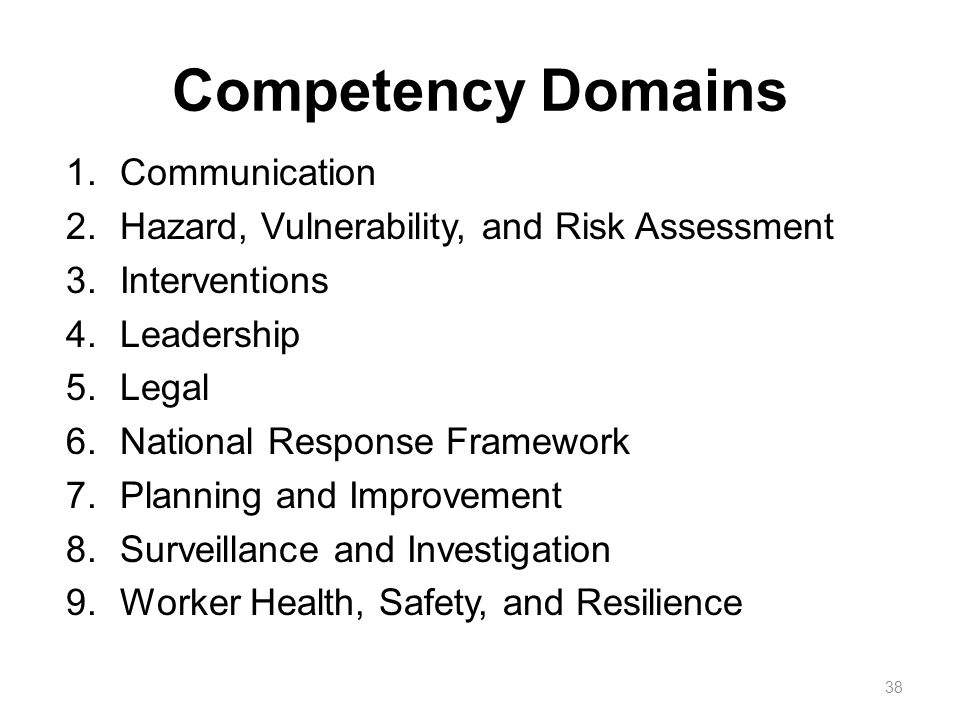 Competency Domains 1.Communication 2.Hazard, Vulnerability, and Risk Assessment 3.Interventions 4.Leadership 5.Legal 6.National Response Framework 7.Planning and Improvement 8.Surveillance and Investigation 9.Worker Health, Safety, and Resilience 38