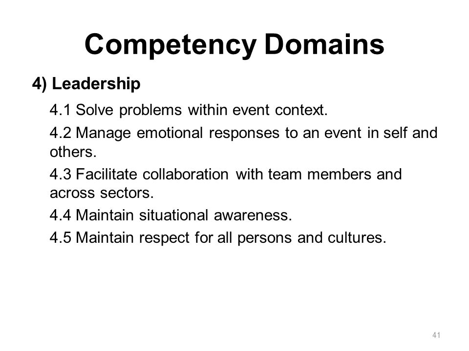 Competency Domains 4) Leadership 4.1 Solve problems within event context.