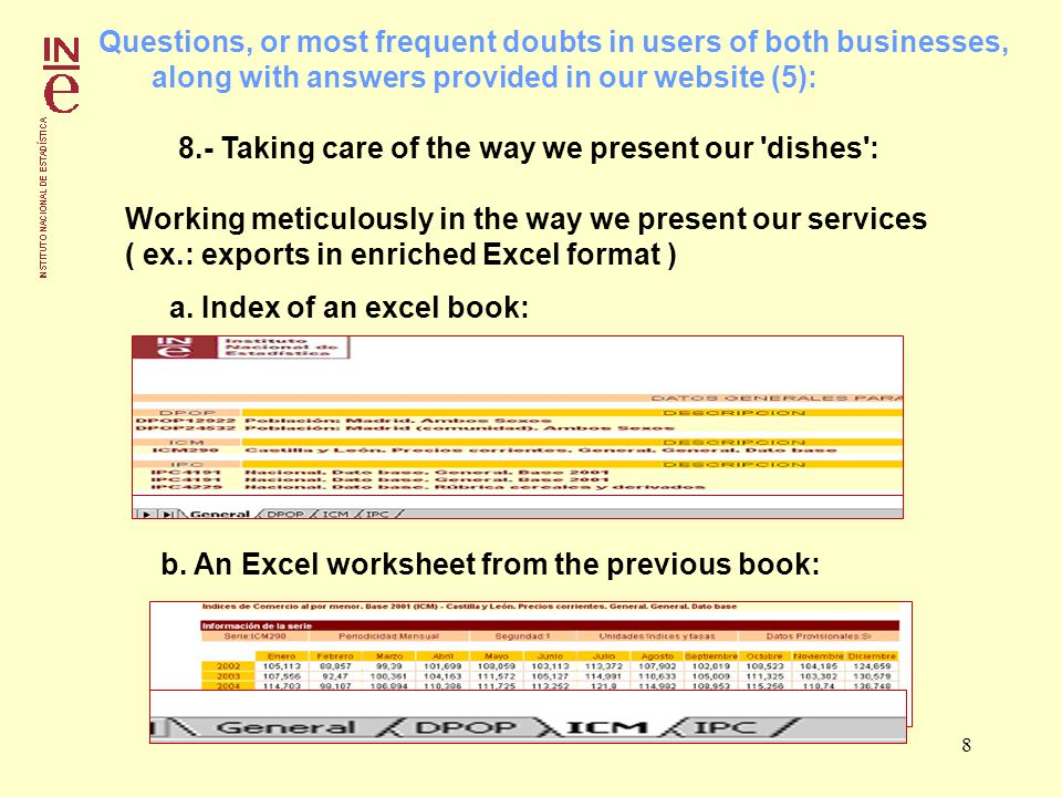 8 Questions, or most frequent doubts in users of both businesses, along with answers provided in our website (5): 8.- Taking care of the way we present our dishes : Working meticulously in the way we present our services ( ex.: exports in enriched Excel format ) a.