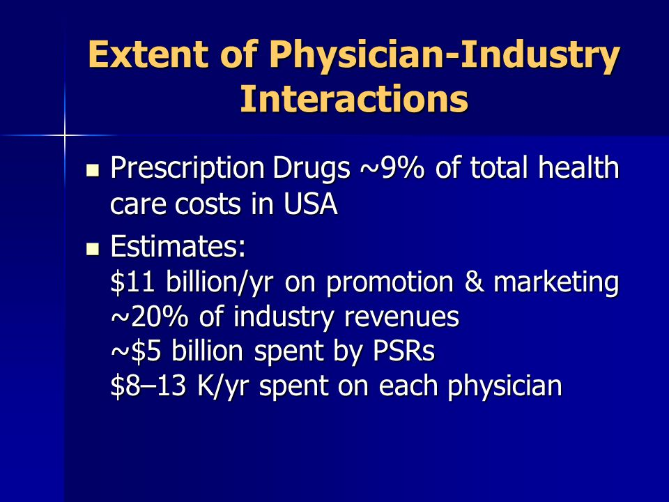 Extent of Physician-Industry Interactions Prescription Drugs ~9% of total health care costs in USA Prescription Drugs ~9% of total health care costs in USA Estimates: $11 billion/yr on promotion & marketing ~20% of industry revenues ~$5 billion spent by PSRs $8–13 K/yr spent on each physician Estimates: $11 billion/yr on promotion & marketing ~20% of industry revenues ~$5 billion spent by PSRs $8–13 K/yr spent on each physician