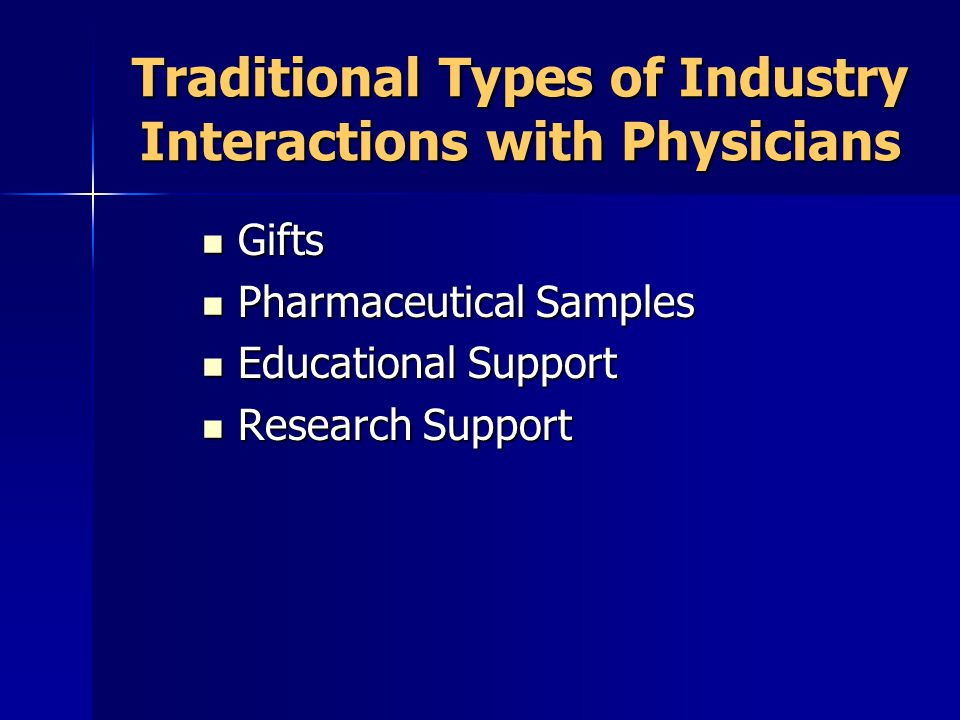 Traditional Types of Industry Interactions with Physicians Gifts Gifts Pharmaceutical Samples Pharmaceutical Samples Educational Support Educational Support Research Support Research Support